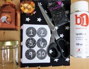 Material für den DIY Adventskalender
